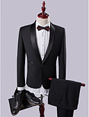 cheap Wedding Dresses-Black Solid Slim Fit Polyester Viscose Suit - Shawl Collar Single Breasted One-button