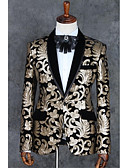economico Completi-Champagne Modello Taglio aderente Poliestere Tuta - Dentellato Monopetto - 1 bottone / Suits