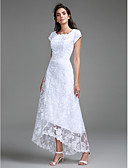 cheap Wedding Dresses-Sheath / Column Jewel Neck Asymmetrical All Over Lace Made-To-Measure Wedding Dresses with Lace by LAN TING BRIDE®