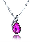 cheap Men's Tees & Tank Tops-Women's Cubic Zirconia Amethyst Simulated Pendant Necklace Imitation Diamond Drop Ladies Sweet Fashion Blue Transparent Peacock Green Necklace Jewelry For Daily Evening Party