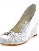cheap Historical & Vintage Costumes-Women's Wedge Heels Stretch Satin Spring / Fall Heels Wedge Heel Crystal Dark Blue / Ivory / Wedding / Party & Evening / Dress / 3-4 / Party & Evening