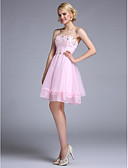 cheap Prom Dresses-A-Line / Fit & Flare Strapless Knee Length Organza Lace Up Cocktail Party / Prom Dress with Beading by TS Couture®
