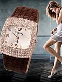 billige Modeure-Dame Armbåndsur Afslappet Ur / Imiteret Diamant Læder Bånd Vedhæng / Mode / Simuleret Diamond Watch Sort / Hvid / Sølv