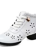 זול חולצות לנשים-בגדי ריקוד נשים נעליים מודרניות עור נעלי ספורט / סוליה חצויה שרוכים עקב נמוך ללא התאמה אישית נעלי ריקוד לבן / שחור / אדום