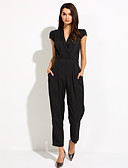 cheap Women's Jumpsuits & Rompers-Women's Plus Size Work Jumpsuit - Solid Colored V Neck / Slim / Summer