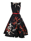 cheap Women's Dresses-Women's Holiday Vintage Sheath Dress - Floral Black, Vintage Style