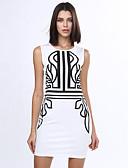 cheap Wedding Dresses-Women's Plus Size Club Slim Sheath Dress Print Fall Cotton White XL XXL XXXL