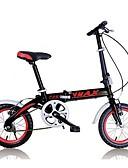 halpa Iltapuvut-Folding Bikes Pyöräily 7 Speed 14 tuumainen V-jarru Ilmajousitus haarukka Monokokki Tavallinen Alumiiniseos