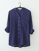 cheap Women's Blouses-Women's Cotton Blouse - Solid Colored V Neck