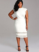 cheap Women's Dresses-Women's Plus Size Going out Sheath Dress - Solid Colored White