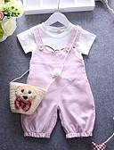 billige Sett med babyklær-Baby Jente Tegneserie Trykt mønster Kortermet Kort Bomull Tøysett