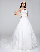 olcso Menyasszonyi ruhák-A-vonalú / Hercegnő Illúziós nyakpánt Kápolna uszály Csipke tüllön Made-to-measure esküvői ruhák val vel Rátétek által LAN TING BRIDE®