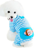 baratos Roupa de Exterior de Mulher-Gato Cachorro Macacão Pijamas Roupas para Cães Desenho Animado Amarelo Azul Rosa claro Algodão Ocasiões Especiais Para animais de