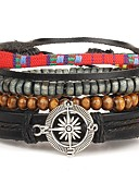 cheap Men's Shirts-Men's Beaded / Layered Wrap Bracelet / Leather Bracelet - Leather Personalized, Bohemian, Punk Bracelet Brown For Daily / Casual / Sports