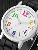 رخيصةأون ساعات موضة-للمرأة ساعة المعصم كوارتز ساعة كاجوال سيليكون فرقة مماثل سحر كاجوال موضة أسود / الأبيض / أزرق - أسود / أبيض قوس قزح فاتح أخضر