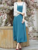 abordables Pantalones para Mujer-Mujer Simple Algodón Pantalones - Un Color Azul