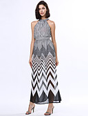 cheap Women's Dresses-Women's A Line / Swing Dress - Striped Criss-Cross High Rise Maxi Stand