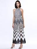 رخيصةأون ملابس ليلية نسائية-فستان نسائي قياس كبير عصري / متموج متصالب طويل للأرض مخطط مرتفعة مناسب للحفلات