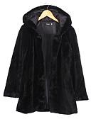 baratos Trench Coats e Casacos Femininos-Mulheres Casaco de Pêlo Básico-Sólido Estilo Moderno Côr Pura