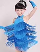 baratos Vestidos de Patinação no Gelo-Dança Latina Roupa Espetáculo Elastano Mocassim Sem Manga Natural Vestido