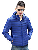 cheap Men's Downs & Parkas-Men's Daily Solid Colored White Duck Down Zipper Regular Down, Polyester Long Sleeve Winter Wine / Light gray / Royal Blue XL / XXL / XXXL