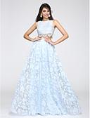 זול שמלות נשף-גזרת A עם תכשיטים עד הריצפה תחרה / אורגנזה מסיבת קוקטייל / נשף רקודים / ערב רישמי שמלה עם תחרה / דוגמא \ הדפס על ידי TS Couture®