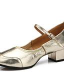 זול שמלות נשים-בגדי ריקוד נשים נעליים לטיניות / נעליים מודרניות עור עקבים אבזם שטוח מותאם אישית נעלי ריקוד כסף / מוזהב / אימון