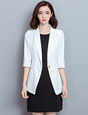 cheap Plus Size Dresses-Women's Going out Street chic Fall / Winter Plus Size Regular Blazer, Solid Colored Peaked Lapel Long Sleeve Polyester White / Black