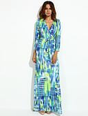 olcso Női ruhák-Női Parti A-vonalú Ruha - Hasított / Nyomtatott Maxi V-alakú