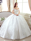 cheap Wedding Dresses-Ball Gown Off Shoulder Floor Length Lace / Tulle Made-To-Measure Wedding Dresses with Pattern by LAN TING Express