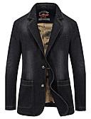 ieftine Blazer & Costume de Bărbați-Bărbați Zilnic Toamnă / Iarnă Regular Blazer, Mată Manșon Lung Bumbac Negru / Albastru XXL / XXXL / 4XL