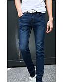 abordables Pantalones y Shorts de Hombre-Hombre Casual Tiro Medio Microelástico Vaqueros Pantalones, Un Color Algodón Todas las Temporadas