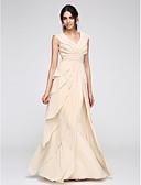 Χαμηλού Κόστους Βραδινά Φορέματα-Γραμμή Α Λαιμόκοψη V Μακρύ Σιφόν Χοροεσπερίδα / Επίσημο Βραδινό Φόρεμα με Βαθμίδες / Πιασίματα με TS Couture®