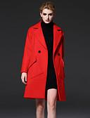 abordables Vestidos de Mujeres-lana amarilla mediana de las mujeres formales frmz sencilla coatsolid muesca solapa manga larga de invierno rojo / / poliéster
