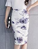preiswerte Damen Röcke-Damen Übergrössen Chinoiserie Bodycon Röcke - Blumen, Gespleisst Druck