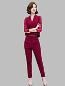 baratos Conjuntos Femininos-Mulheres Blusa Conjunto Sólido Calça Decote V