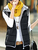 olcso Női hosszú kabátok és parkák-Női Napi Egyszínű Extra méret Rövid Kosaras, Poliészter Ujjatlan Tél V-alakú Kék / Rózsaszín / Bor XL / XXL / XXXL
