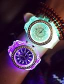 זול שעוני ילדים-בגדי ריקוד נשים שעון יד קווארץ שחור / לבן LED זורח זוהר בחושך אנלוגי נשים מדבקות עם נצנצים יום יומי אופנתי - לבן שחור