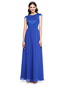 cheap Bridesmaid Dresses-A-Line Jewel Neck Floor Length Chiffon / Lace Bodice Bridesmaid Dress with Buttons / Lace by LAN TING BRIDE®