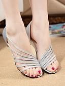 preiswerte Brautmutter Kleider-Damen Schuhe PU Sommer Komfort Sandalen Walking Flacher Absatz Silber / Purpur / Golden
