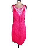 رخيصةأون ملابس رقص لاتيني-الرقص اللاتيني الفساتين نسائي أداء سباندكس / أورجنزا شرابة بدون كم ارتفاع متوسط فستان