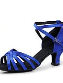 preiswerte Kleidung für Lateinamerikanischen Tanz-Damen Schuhe für den lateinamerikanischen Tanz / Ballsaal Satin Absätze Blockabsatz Keine Maßfertigung möglich Tanzschuhe Schwarz / Rot / Königsblau / Leder