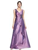 billige Aftenkjoler-A-linje V-hals Gulvlang Taft Formell kveld Kjole med Krystallbrosje / Plissert av TS Couture®