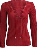 billige Bodysuit-Dame Sexet Langærmet Pullover - Ensfarvet V-hals