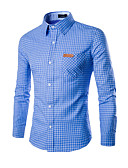 cheap Men's Sweaters & Cardigans-Men's Work Street chic Cotton Slim Shirt - Plaid Print Classic Collar / Long Sleeve