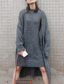 cheap Women's Sweaters-Women's Long Sleeve Rabbit Fur / Acrylic Long Cardigan - Solid Colored / Spring / Fall