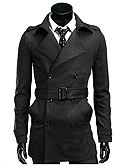 cheap Men's Jackets & Coats-Men's Cotton Trench Coat - Solid Colored