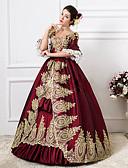 저렴한 장난감&취미-로코코 빅토리안 18 세기 코스츔 여성용 드레스 파티 코스튬 가면 볼 드레스 레드 빈티지 코스프레 레이스 파티 댄스 파티 바닥 길이 긴 길이 볼 드레스 플러스 사이즈 사용자 정의 / 플로럴