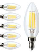 halpa Hatut-6kpl 380lm E12 LED-hehkulamput C35 4 LED-helmet COB Himmennettävissä Lämmin valkoinen 110-130V