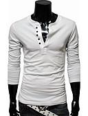 cheap Men's Tees & Tank Tops-Men's Daily / Sports / Work Active Cotton T-shirt - Solid Colored Round Neck / Long Sleeve